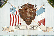 Sign at Fort Benton National Historic Landmark; Fort Benton, Montana.