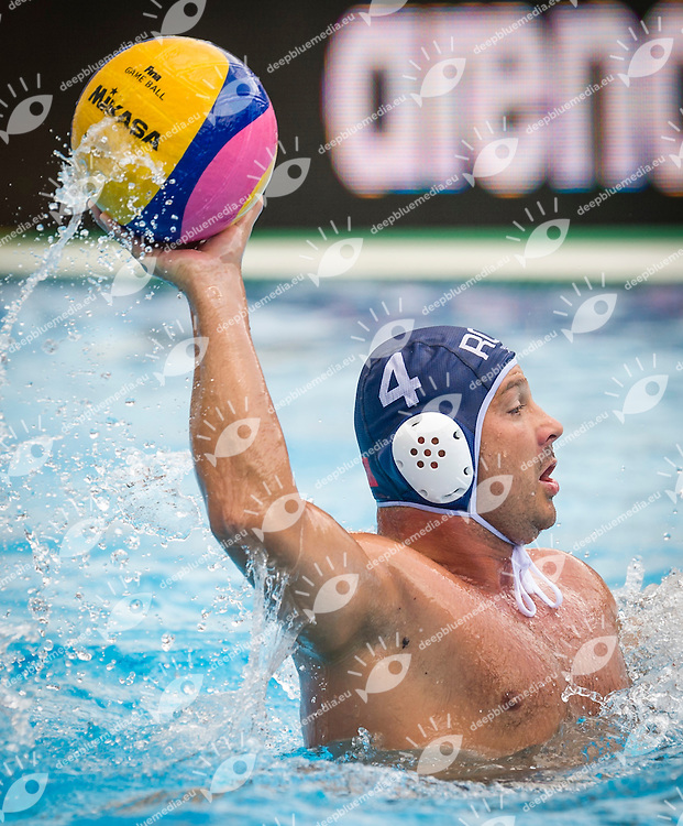 Spain (White) Vs Romania (Blue) Men<br /> LEN European Water Polo Championships 2014 - July 14-27<br /> Alfred Hajos -Tamas Szechy Swimming Complex<br /> Margitsziget - Margaret Island<br /> Day13 - July 26<br /> Photo Giorgio Scala/Inside/Deepbluemedia