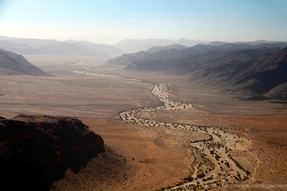 Africa, Namibia, Damaraland. The wild landscape of an ancient Damaraland riverbed as seen from above.