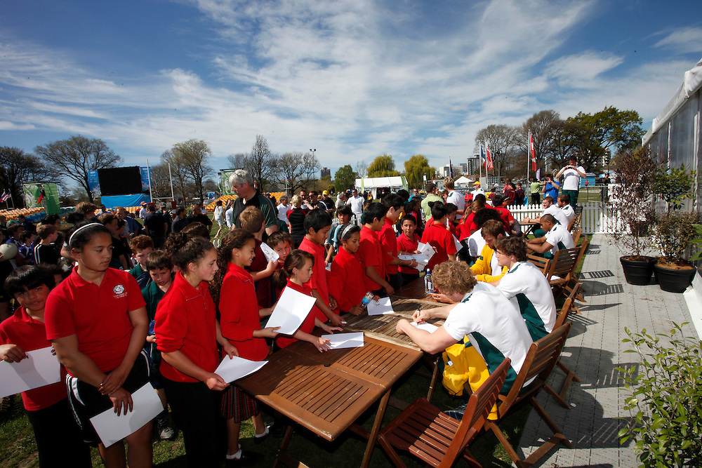 A llineup of school pupils for autographs from the Australian Rugby team members at Fanzone, North Hagley Park, Christchurch, New Zealand, Wednesday, September 28, 2011.  Credit:SNPA / Pam Johnson
