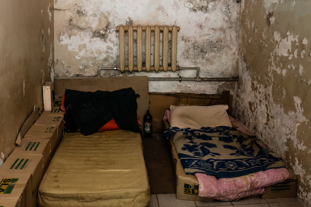 15 of April 2015 / Petrovski/ Donetsk Oblast/ Ukraine - Two man live in this tiny room but they were not there when we visited.