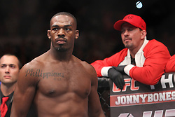 Atlanta, GA - April 21, 2012: UFC Light Heavyweight Champion Jon Jones (red trunks) and Rashad Evans (black trunks) during UFC 145 at the Phillips Arena in Atlanta, Georgia.