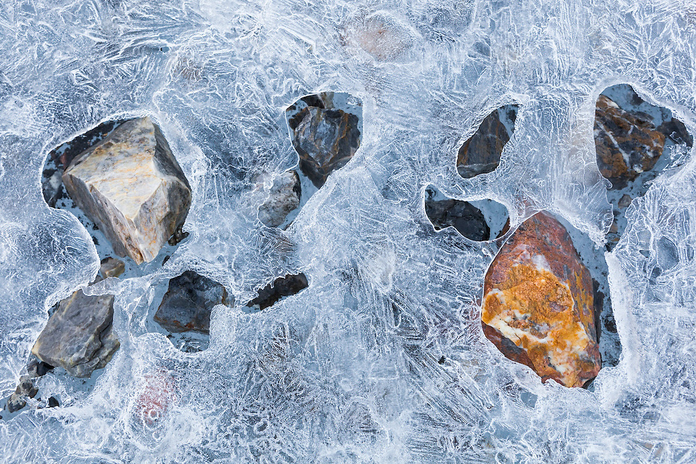 Dark rocks, absorbing more sunlight than the surrounding ice, selectively melt a layer of ice formed on the surface of a meltwater pool on Samarinbreen, Hornsund, Svalbard.