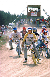 Barry Gustafson gets the Hole Shot and evades a pilleup at the Michigan District 4 BMX Championship, Traverse City, 1982.