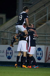 Falkirk's Craig Sibbald cele scoring their goal. <br /> Falkirk 1 v 0 Cowdenbeath, William Hill Scottish Cup game played 29/11/2014 at The Falkirk Stadium.