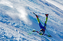 Slovanian Ski Team athlete Rok Rerko crashing and flyingh down the the third downhill training run of the Audi Birds of Prey Alpine World Cup races at the Beaver Creek Resort in Avon, CO on November 29, 2012.