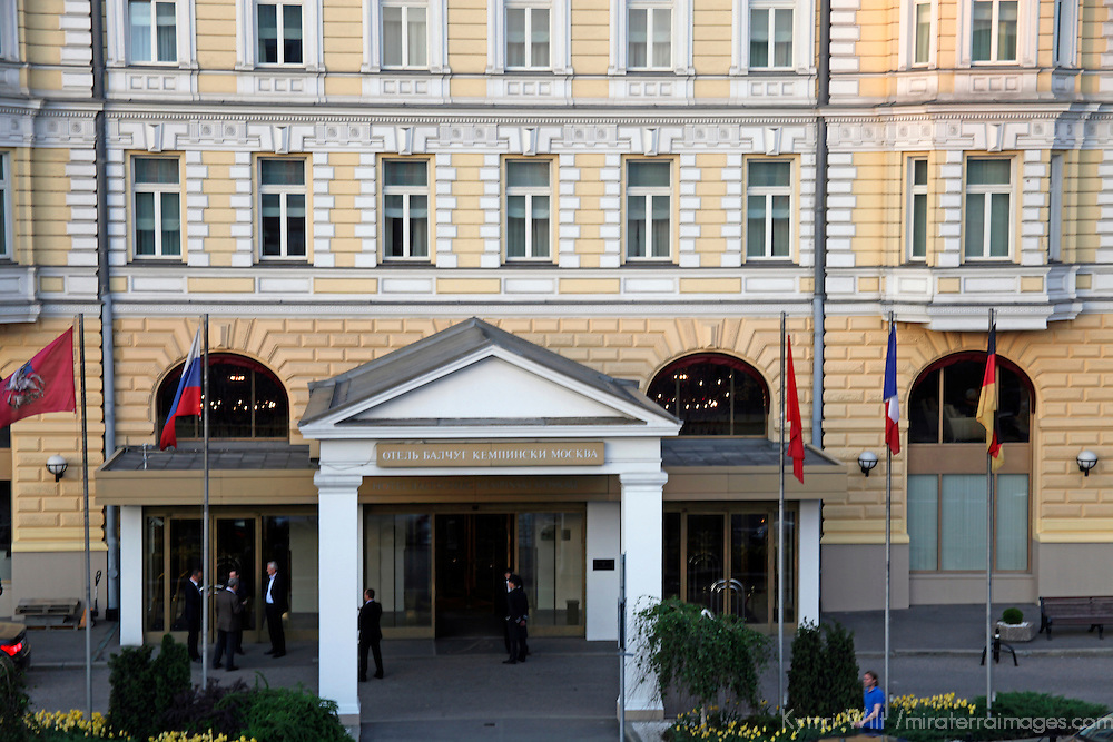 Europe, Russia, Moscow. Baltschug Kempinsky Hotel entrance.