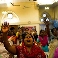 Sunday Holy Mass at the Baptist Church in Colaba district, south Mumbai, India