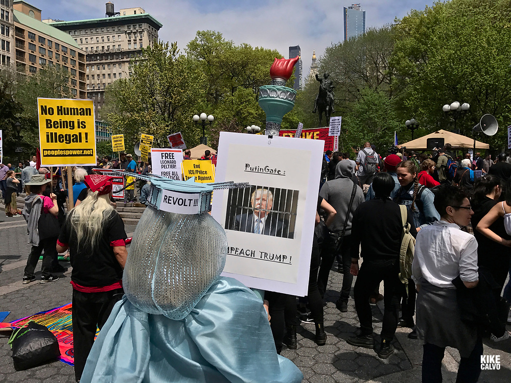 May 1, 2017. New York. Immigrant and union groups marching in Union Square to mark May Day and protest against President Donald Trump's efforts to boost deportations.