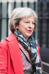 Downing Street, London, March 8th 2016. Home Secretary Theresa May arrives for the weekly UK cabinet meeting at Downing Street. &copy;Paul Davey<br /> FOR LICENCING CONTACT: Paul Davey +44 (0) 7966 016 296 paul@pauldaveycreative.co.uk