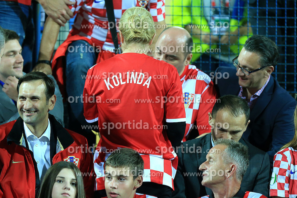 13.10.2014, Stadion Gradski vrt, Osijek, CRO, UEFA Euro Qualifikation, Kroatien vs Aserbaidschan, Gruppe H, im Bild Kolinda Grabar Kitarovic, former Assistant Secretary General for Public Diplomacy at NATO and canidate for Croatian President // during the UEFA EURO 2016 Qualifier group H match between Croatia and Azerbaijan at the Stadion Gradski vrt in Osijek, Croatia on 2014/10/13. EXPA Pictures &copy; 2014, PhotoCredit: EXPA/ Pixsell/ Davor Javorovic<br /> <br /> *****ATTENTION - for AUT, SLO, SUI, SWE, ITA, FRA only*****
