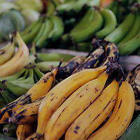 Americas, Caribbean, Antigua and Barbuda. Fresh bananas at the local market in St John's, Antigua.