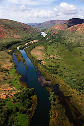 The Ord River snakes through the landscape  in the Wet Season, East Kimberley.
