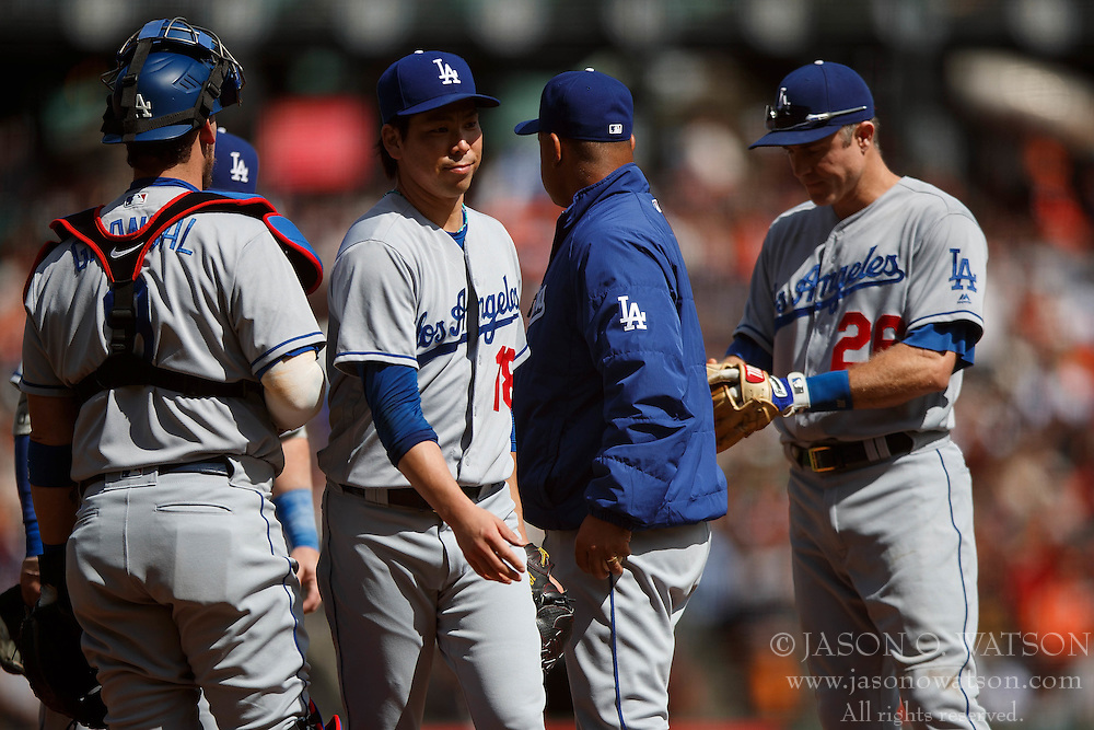 SAN FRANCISCO, CA - OCTOBER 02: Kenta Maeda #18 of the Los Angeles Dodgers is relieved by manager Dave Roberts #30 during the third inning against the San Francisco Giants at AT&T Park on October 2, 2016 in San Francisco, California. The San Francisco Giants defeated the Los Angeles Dodgers 7-1. (Photo by Jason O. Watson/Getty Images) *** Local Caption *** Kenta Maeda; Dave Roberts