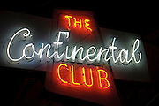 The Continental Club neon sign on South Congress Avenue in Austin, Texas