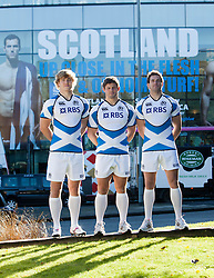 Rugby stars Ross Ford, Richie Gray and Sean Lamont promote Scotland's EMC Tests in November against New Zealand, South Africa and Tonga, at the The Omni Centre, Greenside Place, Edinburgh..©Michael Schofield.