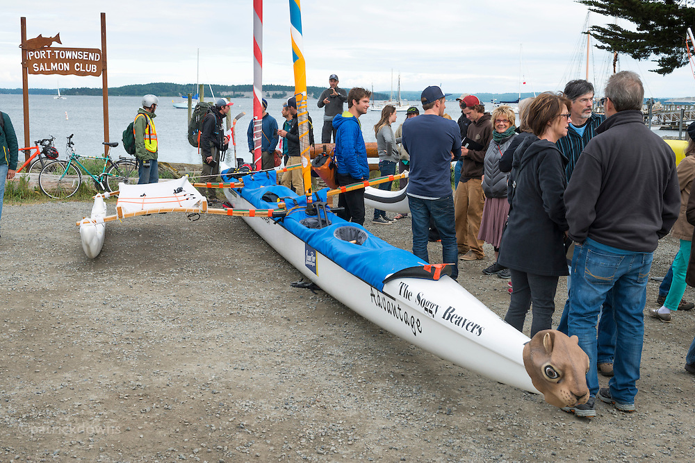 The Soggy Beaver boat, rowed and sailed by 6 young Canadian lads. They said the boat earned &quot;The most egregious double entendre name&quot; award.<br /> <br /> Image from the 1st R2AK, Port Townsend's Race to Alaska. All the boats are wind and/or human powered (oars, paddles, pedals) ... no motors allowed. The race kicked off June 4, 2015, with the 1st leg to Victoria, B.C. http://r2ak.com/