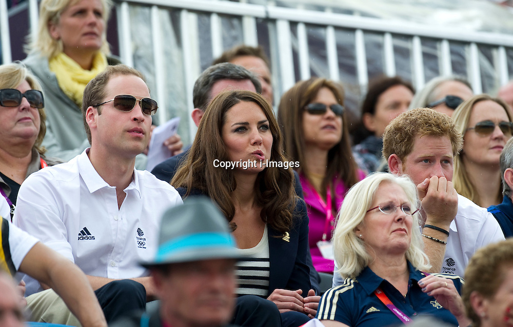 lDuke and Duchess of Cambridge  watching  the Team GB show jumping at the London 2012 Olympics , Tuesday 31st July 2012 Photo by: i-Images