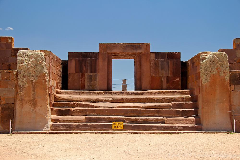 South America, Bolivia, Tiwanaku. East Entrance Kalasasaya Temple at Pre-Columbian archaeological site of Tiwanaku, a UNESCO World Heritage Site.