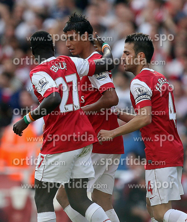 11.09.2010, Emirates Stadium, London, ENG, PL, FC Arsenal vs Bolton Wanderers, im Bild Arsenal's Marouane Chamakh  celebrates his goalduring Arsenal fc vs Bolton Wfc  for the EPL at the Emirates Stadium in London  . EXPA Pictures © 2010, PhotoCredit: EXPA/ IPS/ Marcello Pozzetti +++++ ATTENTION - OUT OF ENGLAND/UK +++++ / SPORTIDA PHOTO AGENCY