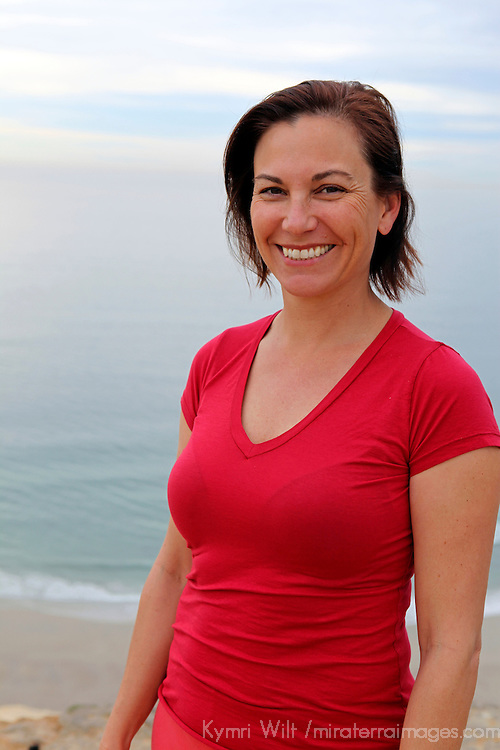 USA, California. Natural woman, 40's, healthy and happy outdoors.