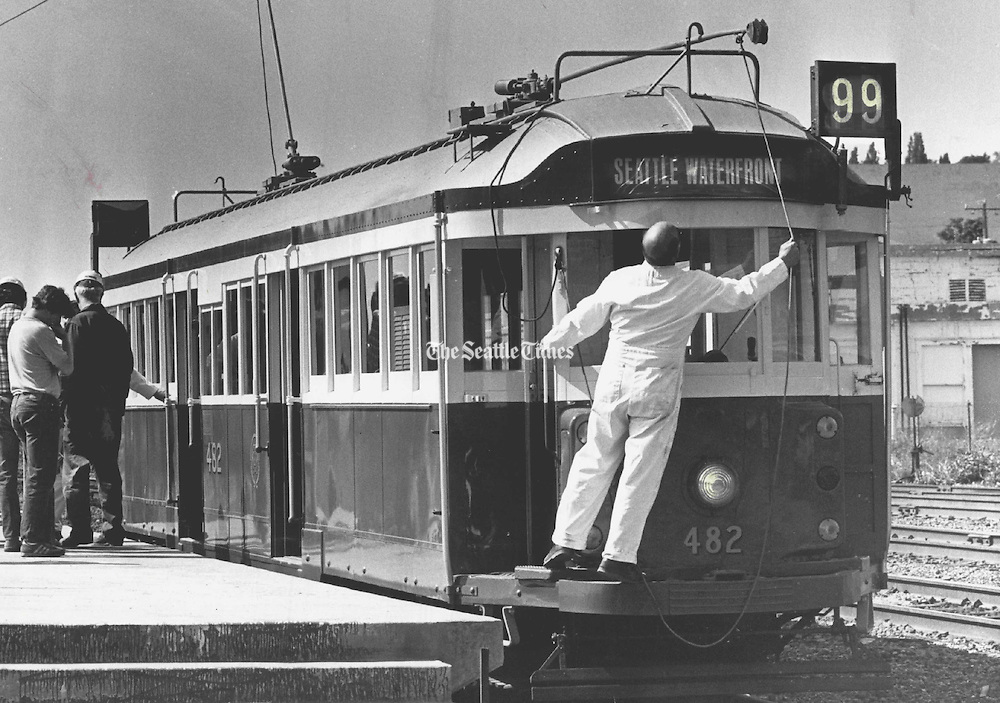 A trolley from Australia was installed on Seattle's waterfront on May 28, 1982 the day before the inaugural service of the streetcar. The waterfront streetcar service ended in 2005. <br /> <br /> Peter Liddell / The Seattle Times