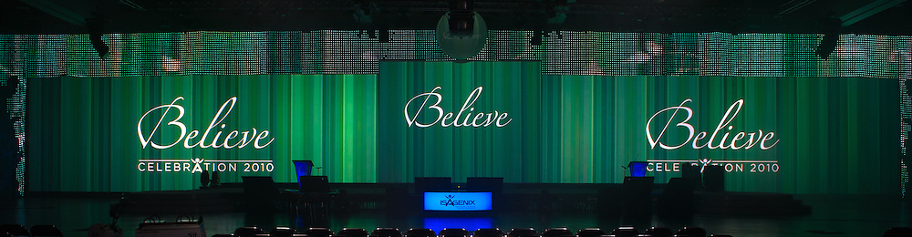 The Believe stage is ready for the opening day General Session of the Isagenix Celebration at the San Diego Convention Center. Event photography by Dallas event photographer William Morton of Morton Visuals.