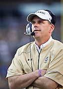 SHOT 9/19/15 5:48:33 PM - Colorado State head football coach Mike Bobo on the sidelines during the Rocky Mountain Showdown against Colorado at Sports Authority Field at Mile High in Denver, Co. Colorado won the game 27-24 in overtime. (Photo by Marc Piscotty / © 2015)