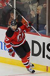 Jan 22, 2013; Newark, NJ, USA; New Jersey Devils left wing Ilya Kovalchuk (17) celebrates his penalty shot goal on Philadelphia Flyers goalie Ilya Bryzgalov (30) during the second period at the Prudential Center.