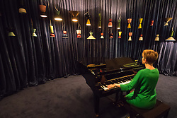"""Somerset House, London, September 21st 2015. A pianist's keys are connected to 44 Alphabeta lamps in """"Hem"""", the creation of Italian designer Luca Nichetto, at Somerset House as part of the London Design Festival which runs between September 19th and 27th with a series of artworks and installations created through the collaborations of internationally renowned designers and brands.  // Contact: paul@pauldaveycreative.co.uk Mobile 07966 016 296"""