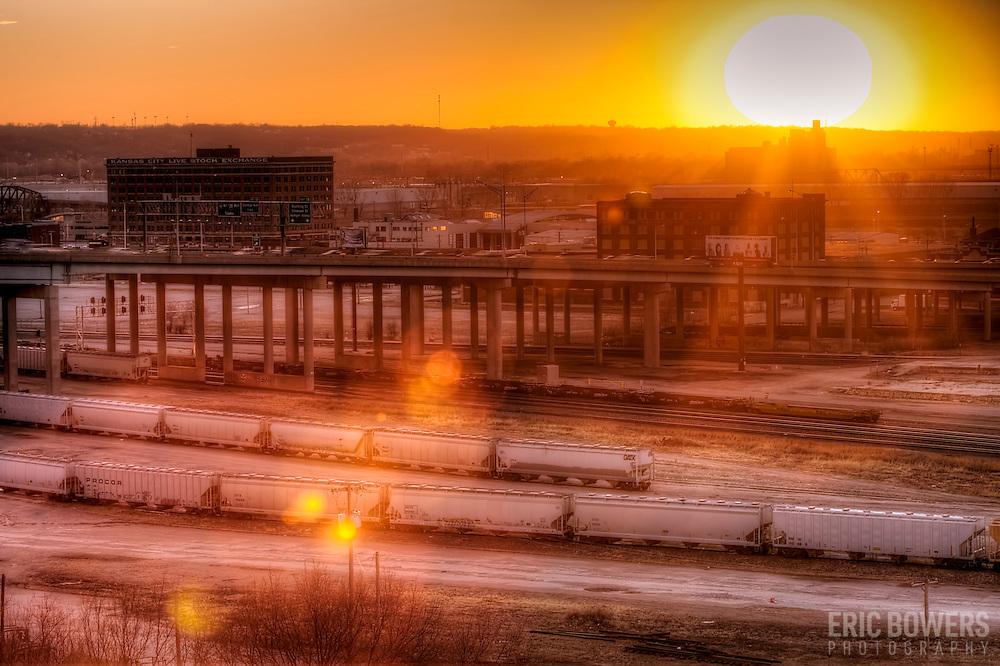 West Bottoms at sunset in Kansas City, Missouri.