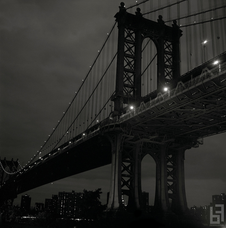 "Dark Image of Manhattan Bridge at night taken from the series ""Down with the Ship"""