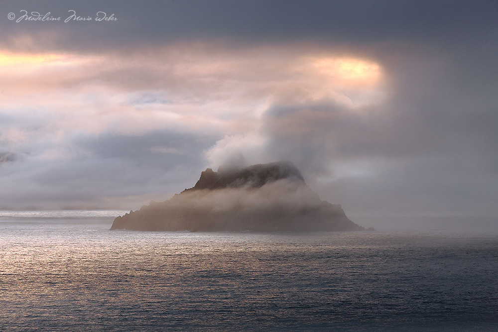 Mystical Skellig Michael, County Kerry, Ireland<br /> <br /> ...The South Peak is hidden in a blanket of mist ****** <br /> <br /> Visit &amp; browse through my Photography &amp; Art Gallery, located on the Wild Atlantic Way &amp; Skellig Ring between Waterville and Ballinskelligs (Skellig Coast R567), only 3 minutes from the main Ring of Kerry road.<br /> https://goo.gl/maps/syg6bd3KQtw<br /> <br /> ******<br /> <br /> Contact: 085 7803273 from an Irish mobile phone or +353 85 7803273 from an international mobile phone