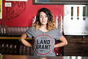 Land Grant Brewing Co. bartender and local comedian Amber Falter poses for a portrait on Monday, October 31, 2016. (Rob Hardin / Alive)