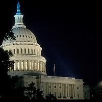 U.S. Capitol at night, Undated.