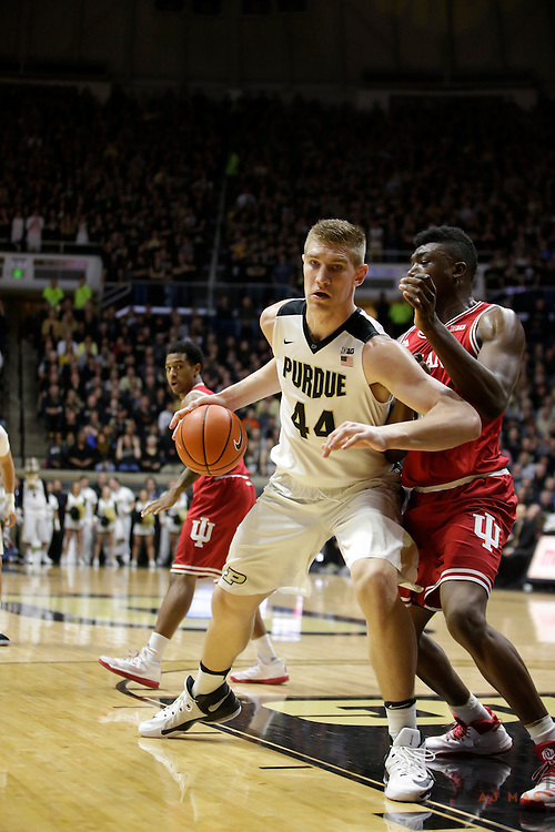 Purdue center Isaac Haas (44) in action as Purdue played Indiana in an NCCA college basketball game in West Lafayette, Ind., Tuesday, Feb. 28, 2017. (Photo by AJ Mast)