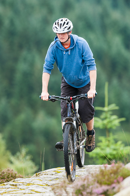 Cyclist at McMoab, Galloway, Forestry Commission, Scotland