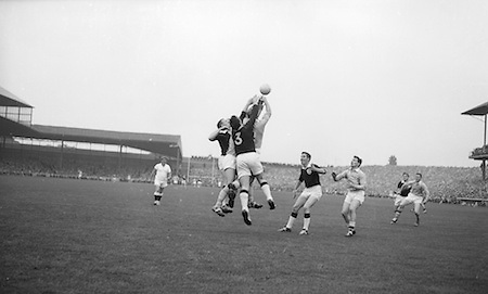 All Ireland Senior Football Championship Final, Dublin v Galway, 22.09.1963, 09.23.1963, 22nd September 1963, Dublin 1-9 Galway 0-10,..N. Tierney (3) Galway Full Back punches clear, .