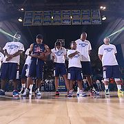 Player from the blue team stands at attention during the national anthem prior to The 2015 Duffy's Hope Celebrity Basketball Game Saturday, August 01, 2015, at The Bob Carpenter Sports Convocation Center, in Newark, DEL.    <br /> <br /> Proceeds will benefit The Non-Profit Organization Duffy's Hope Youth Programming.