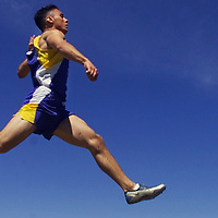 Times Herald-Record/TOM BUSHEY.Washingtonville's Will Nunez practices the long jump on Wednesday at the high school track. Nunez won the high school long jump competition at the Penn Relays in Philadelphia..May 1, 2002..KEITH GOLDBERG SPORTS STORY.