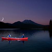 (m) Canoe on Sparks Lake with Mount Bachelor, Moonlight Night Bend, Cascade Mountain Range, Central Oregon, Oregon, USA