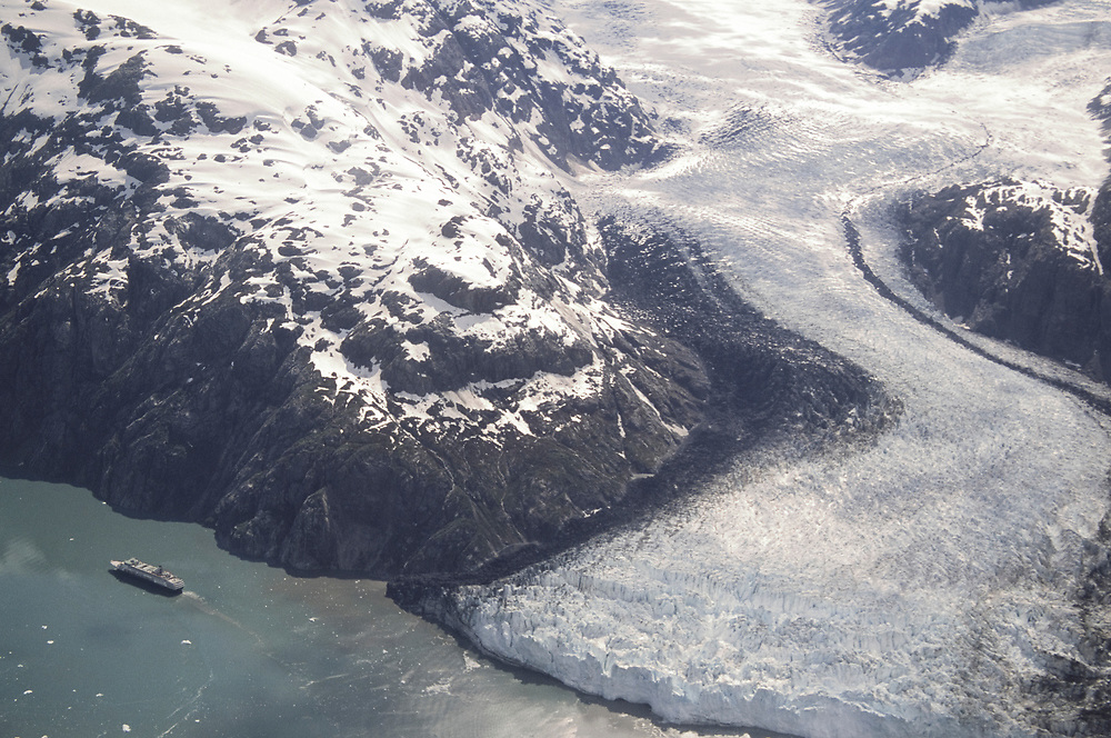 Alaska. Glacier Bay National Park, Glacier bay, Tarr Inlet. Cruise ship leaving Margerie Glacier.