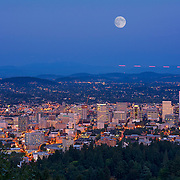 Supermoon rising over the Portland skyline.