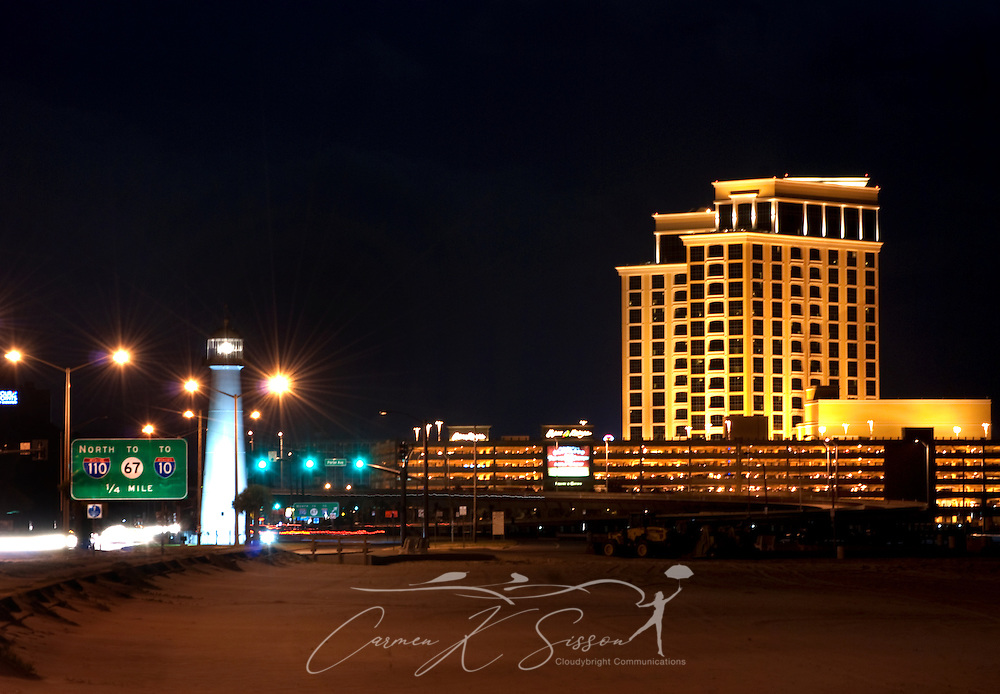 The Biloxi Lighthouse and the Beau Rivage Casino are pictured at night, Sept. 22, 2010. (Photo by Carmen K. Sisson/Cloudybright)