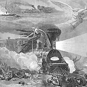 """The horrors of Travel"" 19th century rail (train) and ship travel . Death and destruction with the new technology. Angels hover as the Grim Reaper rides the train. Harper's Weekly Sept. 23rd, 1865."