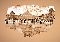 Sepia toned photo collage of the Louvre in Paris, France.