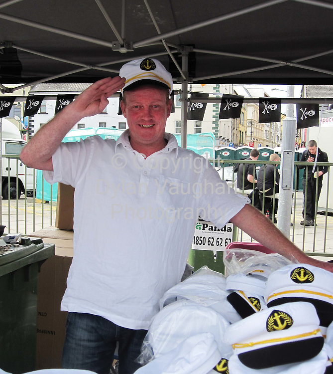 Terry McNamara from Belfast pictured with his hats for sale at the Tall Ships Festival in Waterford..Picture Dylan Vaughan