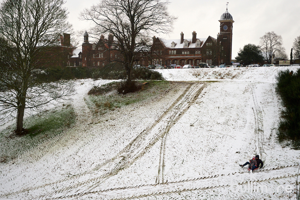 Norwich, Norfolk.  Residents of Norwich make the most of the recent snow fall on Ketts Hill in Norwich,.<br /> <br /> Picture: MARK BULLIMORE
