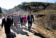 Yanhewanzhen - King Willem-Alexander and Queen Maxima of The Netherlands visit the village of Yanhewanzhen in China, 27 October 2015. They visit an apple farm and get explanation about Loss Plateau by Luo Guobin director of the institute of Climate and Water Protection. Loss Plateau is an restored area and with new eco systems. The King and Queen are in china for an 5 day state visit. COPYRIGHT ROBIN UTRECHT