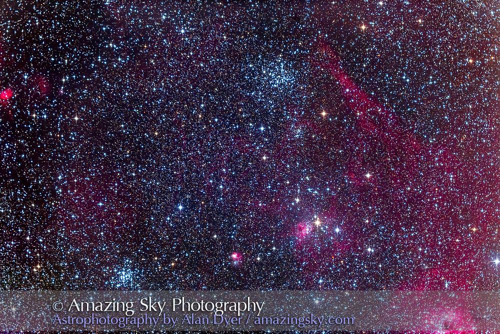 M36, the Pinwheel Cluster, left, and M38, the Starfish Cluster, right, in Auriga, surrounded by a wealth of nebulosity, including NGC 1931 at bottom centre, and IC 417 right of centre. IC 410 is in the lower right corner. This is a stack of 6 x 6 minute exposures with the TMB 92mm apo at f/4.8 with Borg 0.85x Reducer/Flattener and modified Canon 6D at ISO 800. A hazy night but not bad overhead where this field was.
